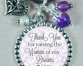 MOTHER of the BRIDE, Keychain for Mother In Law, Thank You for Raising the Woman of my Dreams, Customized Gift
