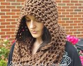 Crochet Adult Hooded Cowl, Women's Winter Hat, Infinity Scarf, Handmade,Teen Accessory, Warm Dark Chocolate Brown, Hat, Christmas Gift