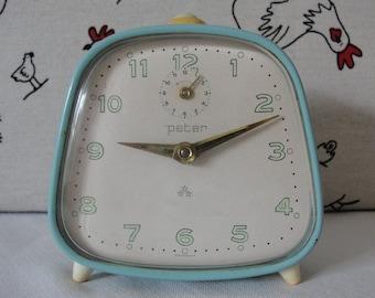 Periwinkle Vintage Alarm Clock, Desk Clock