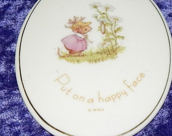 Put on a Happy Face porcelain plaque , Tiny Talks ,Collectible, Nursery Decor,1970s, Vintage