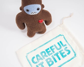 Travel adventure friend! Mini sasquatch plush companion... Custom bigfoot brown & light blue.