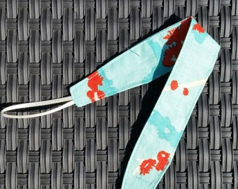 Universal Pacifier Clip - Aqua and Orange Twigs and Flowers