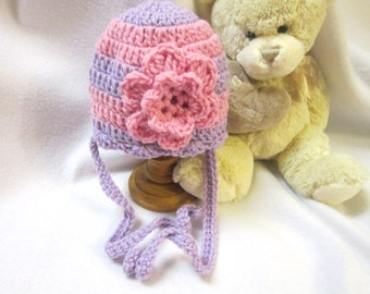 Baby Girl Crochet Purple and Pink Hat with Flower, 3 to 6 Months Cap with Ties by Crocheted by Charlene, Photo Prop