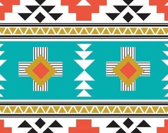 Four Corners Teal Fabric by the Yard   Riley Blake C4870-TEAL   Tribal Fabric Black Red Aqua