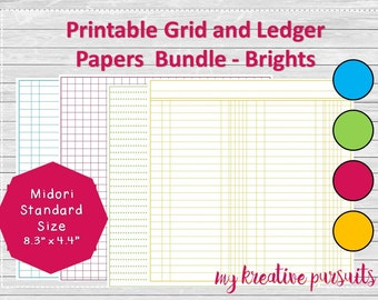 Traveler's Notebook Printable Papers, Ledger Papers, Midori Inserts, Bullet Journal Standard Size Bundle