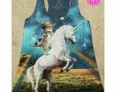 Cowboy Cat on Unicorn Tanktop!  Workout, Cocktails, Happy Hour Tank