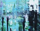 Sunday Sale!  Abstract Painting, ORIGINAL Art, Small Acrylic Painting Abstract Painting, 16x20, FREE Shipping Blacks Whites Blues
