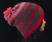 Knitted Hat for Woman - Pink and Gray Womans Accesories Hat - Pom Pom Hat - Winter Hat - Striped Beanie