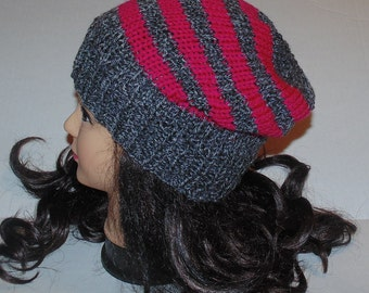 Grey and Pink Striped Slouchy Hat, Slouchy Beanie
