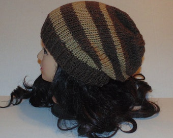 Brown and Tan Hat, Hand Knit Mens Hat, Slouchy Beanie Hat, Mans Accessories, Womans Accessories, Winter Hat