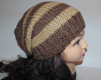Brown and Tan Hat, Hand Knit Men's Hat, Slouchy Beanie Hat