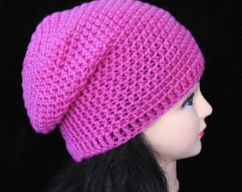 Pink Slouchy Crochet Beanie Hat, Pink Hat, Slouchy Beanie