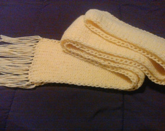 Yellow Ribbed Scarf, Knit Scarf with Fringes, Chunky Scarf, Long Ribbed Scarf, Long Scarf, Stretchy Scarf