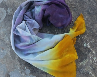 Hand Dyed Fleece Scarf, Bamboo Fleece Scarf, Ombre Eggplant Purple and Gold Scarf (raw edges)