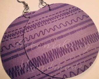 Clearance - Purple Lines Circle Fabric Large Earrings
