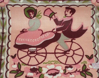 Vintage Victorian Couple Paragon Pink Linen Kitchen Towel Unused Southern Belle
