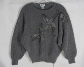 Gray 70% Angora Wool Sweater S Beaded Applique Pullover Dolman Sleeves