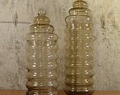 Holmegaard Primula Glass Jars Vintage x 2