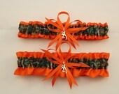 Orange and Camouflage Wedding Garter Set with Deer Deco, Mossy Oak, Bridal Garter