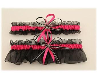 Black and Fuchsia Wedding Garter Set  (Your Choice, Single or Set)