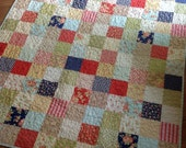 Custom Listing for bhightower -- Balance due on lap quilt in Avalon fabrics- red, blue, green, cream