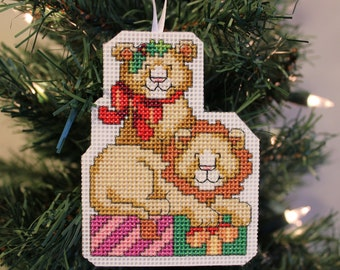 Lion Handmade Cross Stitch Christmas Ornament