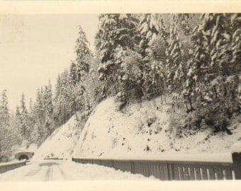 Vintage Photo of a Snow Covered Bridge and Tunnel