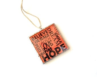 Inspirational words, stained glass ornament, believe, inspire, encouragement, positive influence Christmas ornament, typography art, orange,