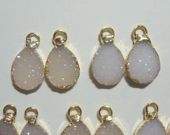 White off white Natural Agate Druzy Drusy lovely Teardrop Small Pendant Charm, 24K Gold Edged, Teardrop, L15