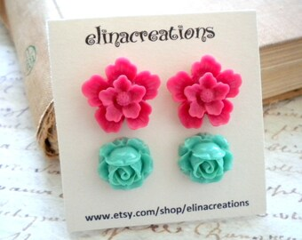 Flower Stud Earrings Set Gift For Her Emerald Post Earrings Pink Stud Earrings Feminine Jewelry Stud Flower Earrings Flower Post Earrings