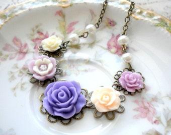 Flower Girl Necklace Wedding Children Jewelry Flower Girl Gift Lavender Necklace Flower Girl Pearl Necklace Romantic Jewelry Kid Necklace