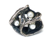 Brutalist Sterling Pearl Ring - Genuine Pearl, Silver, Signed JF, Artisan Jewelry, Vintage Jewelry, Vintage Ring, Size 5.5