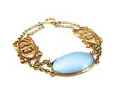 Art Deco Bracelet, Chalcedony Glass, Sterling Bracelet, Vermeil Gilt, Gold Plated, Antique Jewelry