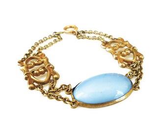 Art Deco Bracelet, Sterling Bracelet, Vermeil Gilt, Gold Plated,  Chalcedony Glass, Antique Jewelry