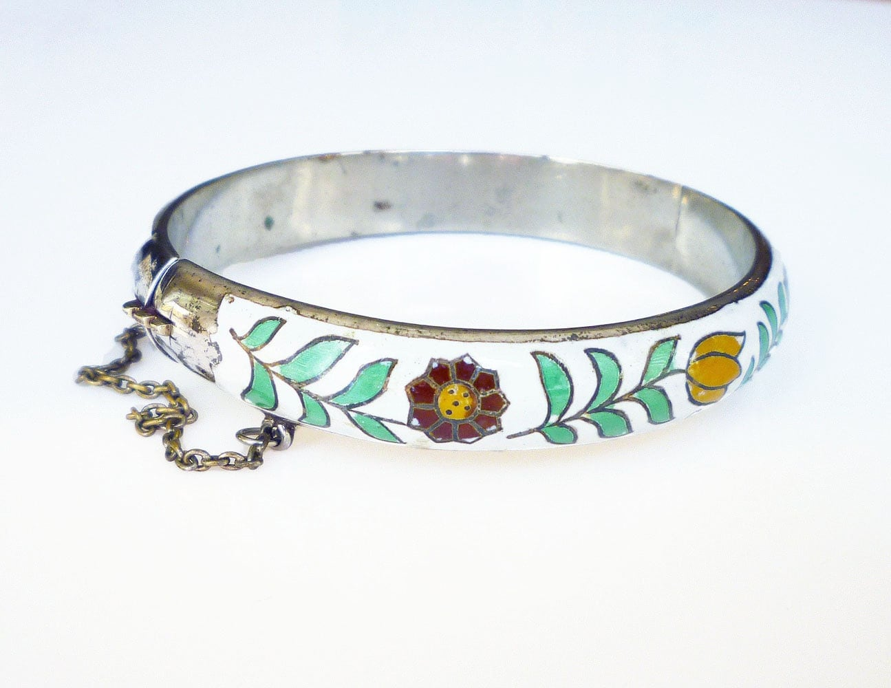 siam sterling bangle bracelet white enamel tulip by