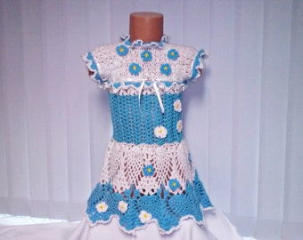 Valentine's Day Outfit, Girls tunic, dress summer, holiday baby dress, Girls' Clothing dress, girls dress Crocheted blue dress,