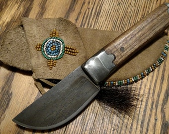 Mountain Man Skinning Knife with Brain Tan sheath with Beading