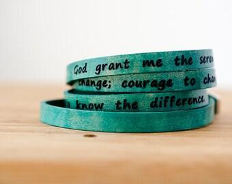 Serenity Prayer on Ultra Long Leather Wrap Bracelet in Aqua Green