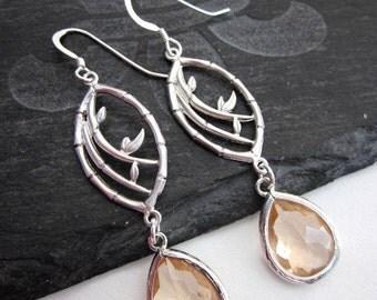 Peach Dangle Earrings -- Peach & Silver Earrings -- Bamboo Earrings -- Peach Glass Earrings -- Silver Marquise Earrings -- Peach Dangles
