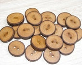 "20 Handmade plum wood Tree Branch Buttons with Bark, accessories (0,9'' diameter x 0,20"" thick)"