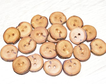 "Small 20 Handmade apple wood Tree Branch Buttons with Bark, accessories (0,79"" diameter x 0,16"" thick)"