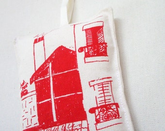 French Pin Cushion. Large Handmade French Cushion. Red House. Screen Print Cushion. Red. French Scene. Room with a View Paris.