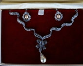 Vintage rare Marcasite necklace set 1920-30s signed Sterling  pearl art deco