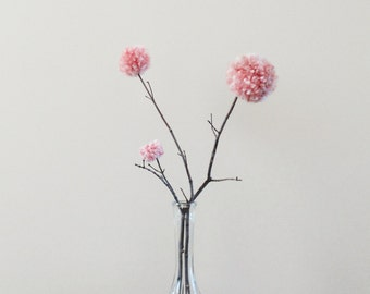 Dusty Rose Flowers - Pink Blooms - Pom Poms - Weddings - Baby Nursery Decor - Whimsical Party Centerpiece - Home Decor - Natural Twigs