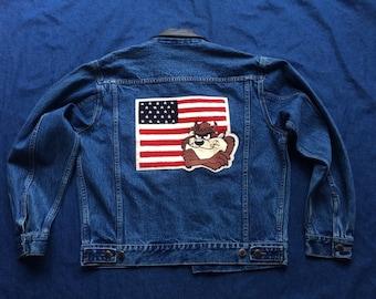 Tasmanian Devil Denim Jacket / Nineties Jean Jacket / Novelty Jacket / Unisex American Flag Jacket / Looney Toons Taz Coat / Leather Collar