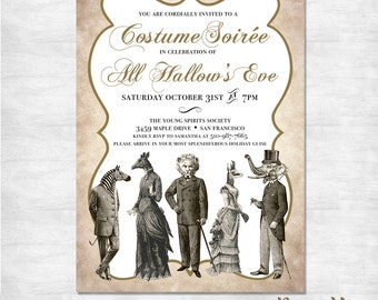 Costume party invitations / adult halloween invitation / all hallow's eve / printable invitation / printed invites