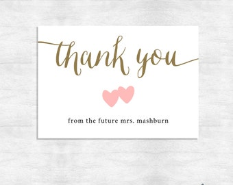 Calligraphy Thank you cards / Wedding thank you cards / shower thank you notes  / Printed cards flat or folded