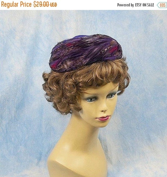 SALE Vintage 50s 60s Feathers & Felted Wool Pillbox Hat, Violet and Multi Colors