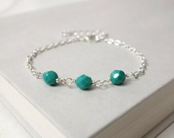 Dainty chain bracelet turquoise beads bracelet minimalist bracelet layering jewelry