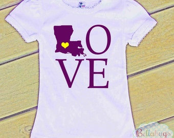 Louisiana State Love Tshirt - Girls Shirt - State Shirt - LSU - Purple and Gold